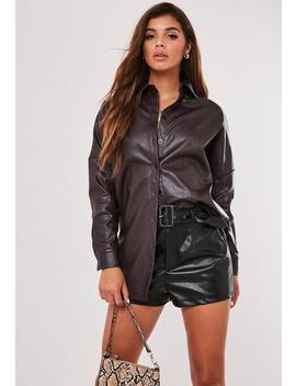 Wine Faux Leather Oversized Shirt by Missguided