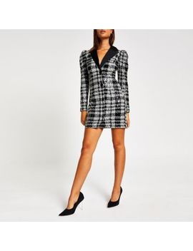 Black Check Sequin Long Sleeve Tux Dress by River Island