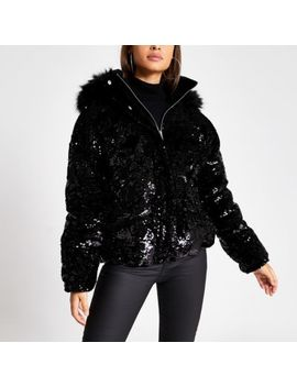 Black Sequin Faux Fur Hood Padded Coat by River Island