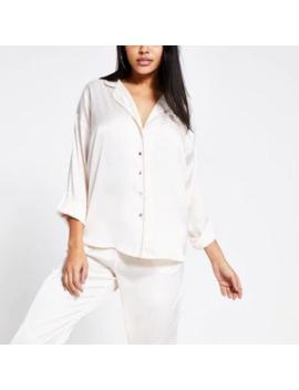 Cream Loose Fit Satin Pyjama Shirt by River Island