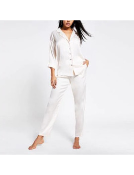 Cream Loose Fit Satin Pyjama Trousers by River Island