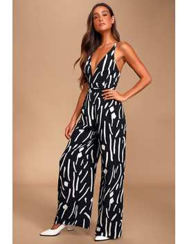 Irena Black And White Print Sleeveless Wide Leg Jumpsuit by Lulus