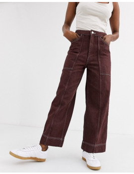 Weekday Avon Jeans In Yarn Dyed Mahogany by Weekday