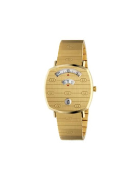 Gold Tone Grip Logo Engraved 35mm Watch by Gucci