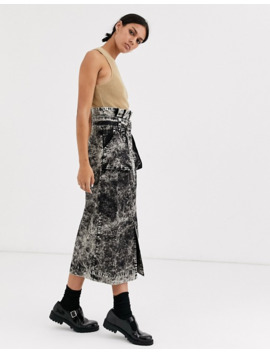 Asos Design Washed Midi Skirt With D Ring And Pockets by Asos Design