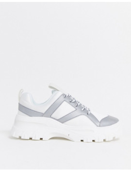 Monki Reflective Chunky Trainers In White by Monki