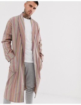 Paul Smith Classic Stripe Light Weight Dressing Gown In Multi by Paul Smith