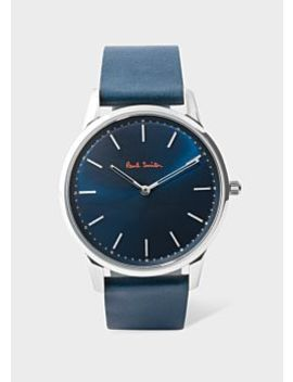 Men's Navy Leather 'slim' Watch by Paul Smith