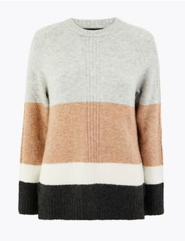 Colour Block Relaxed Fit Jumper by Marks & Spencer