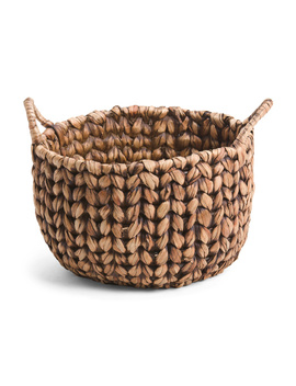 Large Round Washed Vertical Weave Basket by Tj Maxx