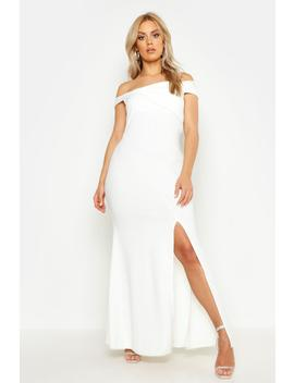 Plus Bardot Extreme Split Maxi Dress by Boohoo