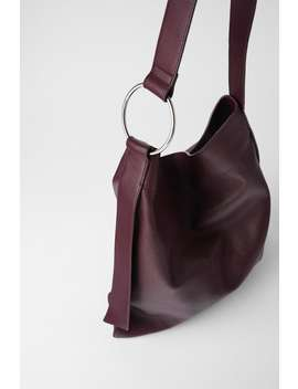 Flat Leather Tote Bag by Zara