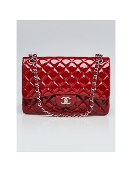 Red Quilted Patent Leather Classic Jumbo Double Flap Bag by Chanel