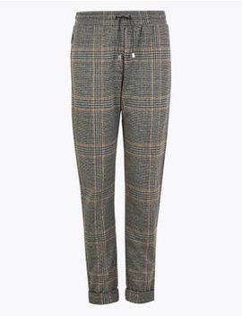 Checked Tapered Ankle Grazer Trousers by Marks & Spencer