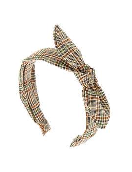Bandeau à Nœud Noué Motif écossais Classique Marron by Claire's