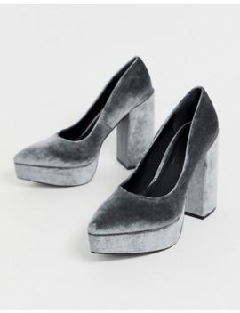 Asos Design Prime Chunky Platform High Heeled Court Shoes In Grey Velvet by Asos Design