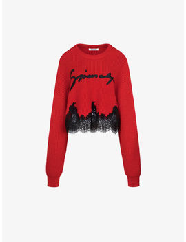 Pull Court En Alpaga Et Dentelle Givenchy by Givenchy