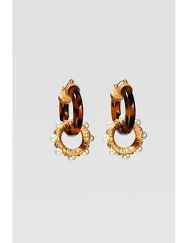 Limited Edition Tortoiseshell And Pearl Hoop Earrings by Zara