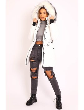 White Adjustable Waist Longline Puffer Coat   Zofia by Rebellious Fashion