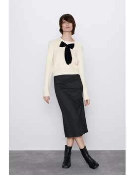 Sweater With Velvet Bow by Zara