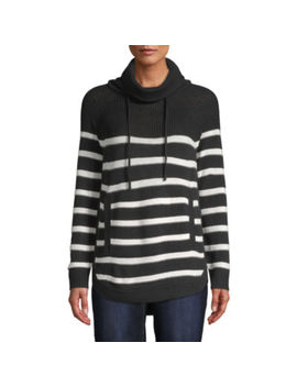 St. John's Bay Womens Cowl Neck Long Sleeve Striped Pullover Sweater by St. John`s Bay