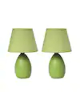 Simple Designs 2 Piece Standard Lamp Set With Green Shades by Lowe's
