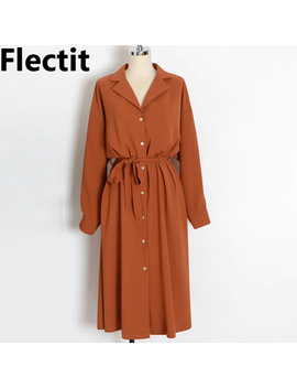 Flectit Business Chic Women Midi Shirt Dress With Bow Button Up Long Sleeve Spring Summer Dress Office Lady Outfit * by Ali Express.Com