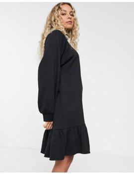 Monki Organic Cotton Jersey Smock Dress In Black by Monki