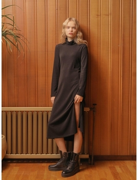 Slit Long Turtleneck Dress Black by Wardrobe
