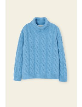 Alpaca Wool Oversized Cable Knit Turtleneck   Sky Blue by Orchard Mile