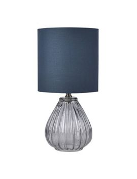 Bee & Willow™ Home Isla Glass Table Lamp In Blue With Dark Blue Cotton Shade by Bed Bath And Beyond