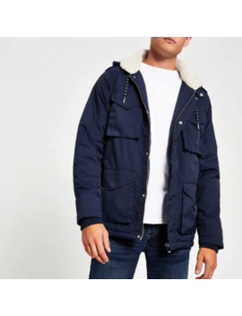 Navy Utility Borg Lined Parka by River Island