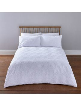 White Geo Textured King Duvet Bed Set by River Island