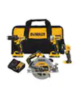 Dewalt 20 Volt Max 4 Tool Brushless Power Tool Combo Kit With Soft Case (2 Batteries Included And Charger Included) by Lowe's