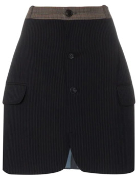 Buttoned Pinstripe Skirt by Rentrayage