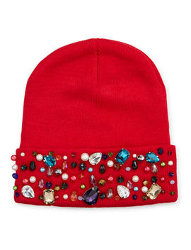 Natasha Accessories Limited Beaded & Jeweled Beanie by Natasha Accessories Limited
