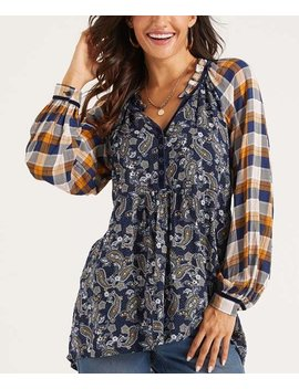Navy &Amp; Yellow Paisley Plaid Button Front Hi Low Tunic   Women &Amp; Plus by Suzanne Betro Weekend