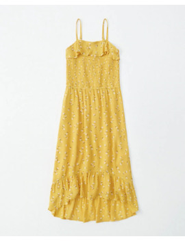 Smocked Ruffle Midi Dress by Abercrombie & Fitch