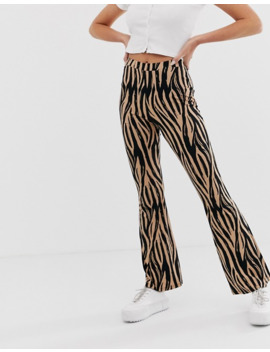 Asos Design – Schlaghose In Stone Mit Tigerprint by Asos