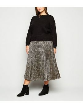 Curves Brown Satin Spot Pleated Midi Skirt by New Look