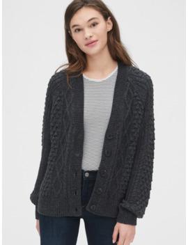 Bobble Stitch Raglan Cardigan Sweater by Gap