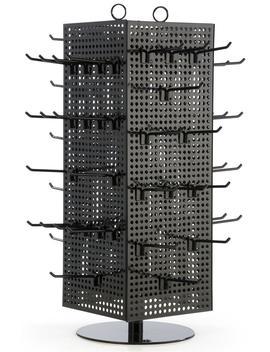 Countertop Pegboard Spinner Rack, Magnetic, 60 Hooks (Black With Black Pegs, Steel) (Md4 Pctbkbk) by Displays2go