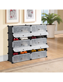Langria Diy Shoe Rack, 10 Cube Storage Drawer Unit Multi Use Modular Organizer Plastic Cabinet With Doors, Black And White Curly Pattern by Langria