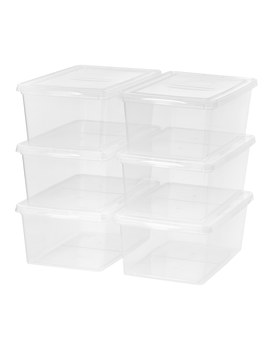 Mainstays 17 Quart (4.25 Gallon) Sweater Box Storage, Clear, 6 Pack by Mainstays