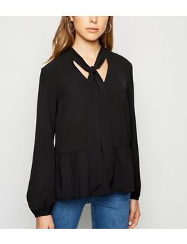 Black Tie Neck Peplum Blouse by New Look