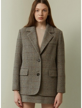 Classic Check Single Fit Wool Jacket Brown by Lookast