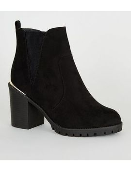 Extra Wide Fit Black Suedette Chunky Boots by New Look