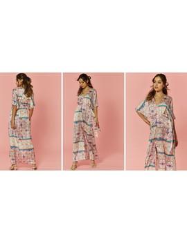 Scarf Printed Kimono Maxi by Glamorous