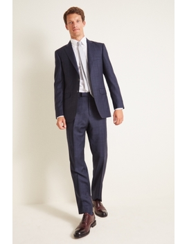 Savoy Taylors Guild Regular Fit Navy Check Suit by Moss Bros