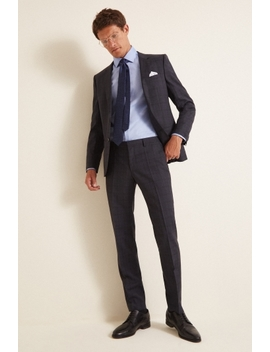 Hugo By Hugo Boss Navy Check Suit by Moss Bros